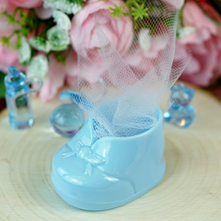 Personalized Party Favors For Baby Shower (BalsaCircle 12 pcs Disposable Plastic Booties Baby Shower Favors for Wedding Reception Party Buffet Catering)