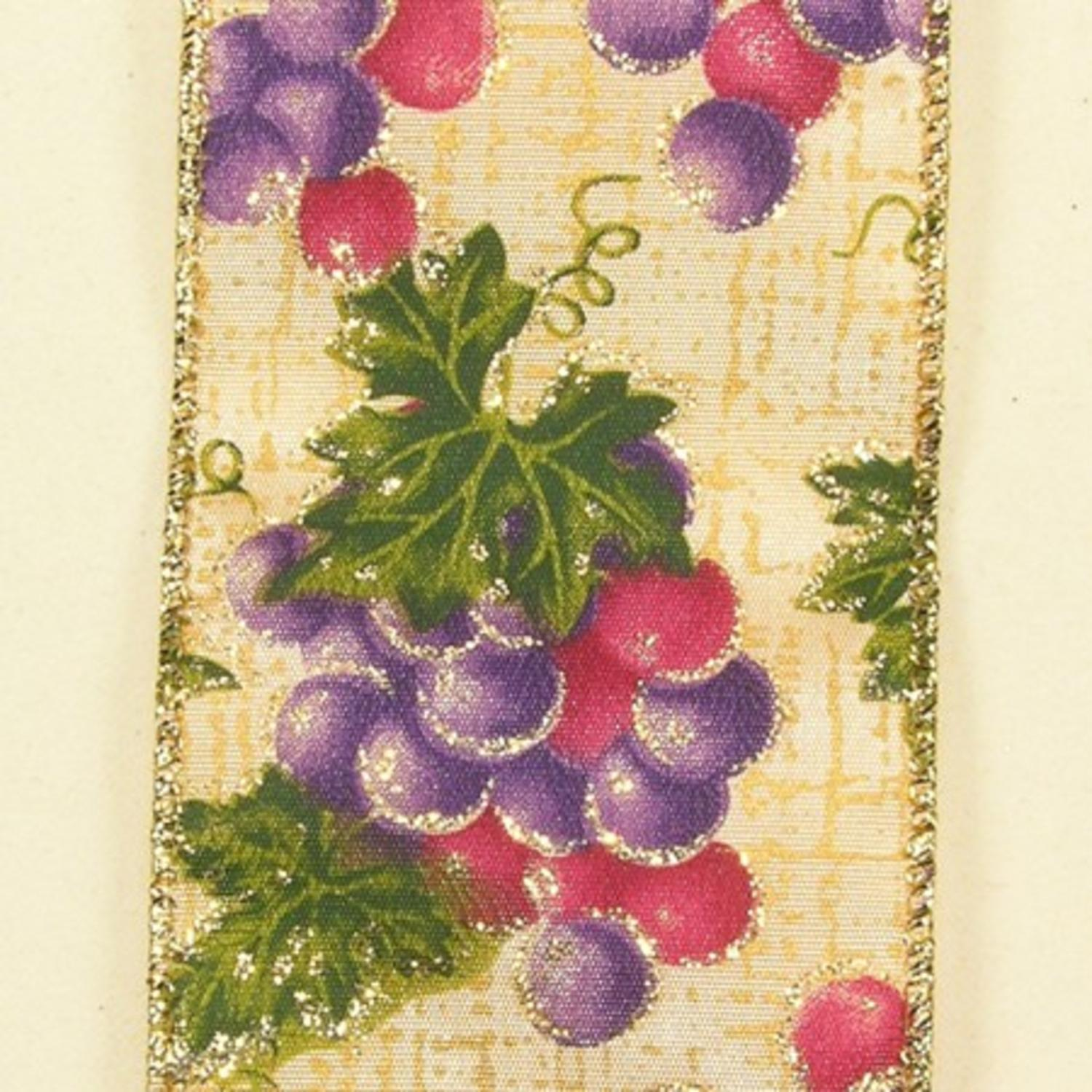 Purple Fall Grapes Theme Wired Craft Ribbon 2.5\