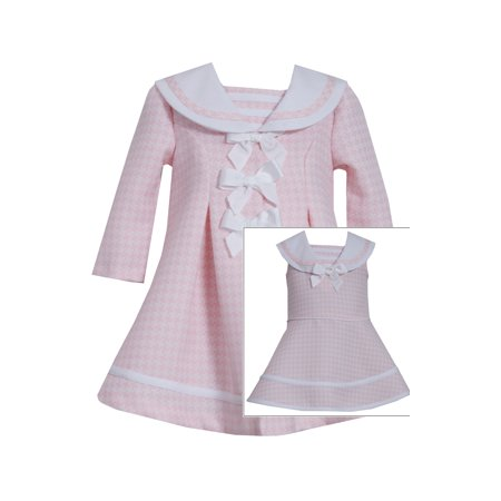 Dress Coat Girls (Bonnie Jean Baby Girls Easter Holiday Bow Pink Coat Dress Set 6-9)