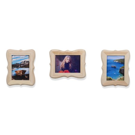 Wallniture Set of 3 5x7 Victorian Design Picture Frames Unfinished Wood Natural Color for DIY and Arts and Crafts Oval Victorian Wall Frame