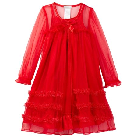 Komar Kids Little Girls' Red Peignoir Gown Set, Red, Size: 4T](4t Nightgown)