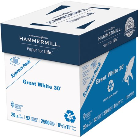 Hammermill, HAM67780, Great White Recycled Copy Paper, 2500 / Carton, -