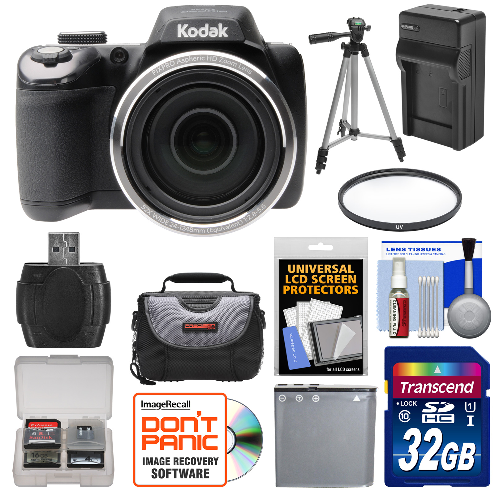 Kodak PixPro AZ525 Astro Zoom Wi-Fi Digital Camera with 32GB Card + Battery & Charger + Case + Tripod + Filter + Kit