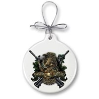 USMC Marine Corps devil dog First in last out-Christmas Tree Ornaments