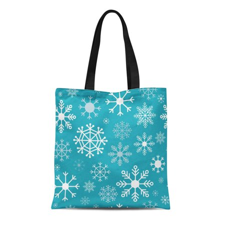 HATIART Canvas Bag Resuable Tote Grocery Shopping Bags Blue Christmas Snowflakes on Teal Seamess Pattern Cold Tote Bag - image 1 of 1