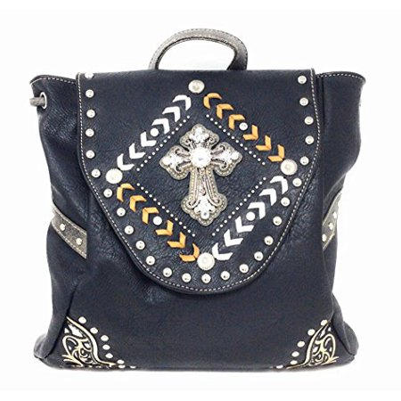 best sale 100% quality lovely design Texas West Multipurpose Western Cross Rhinestone Leather Conceal Carry Top  Handle Square Backpack Purse (Black Yellow)