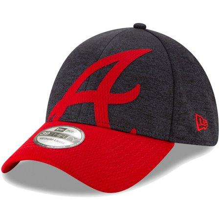 Atlanta Braves New Era Stadium Collection Overshadow 39THIRTY Flex Hat - Navy/Red