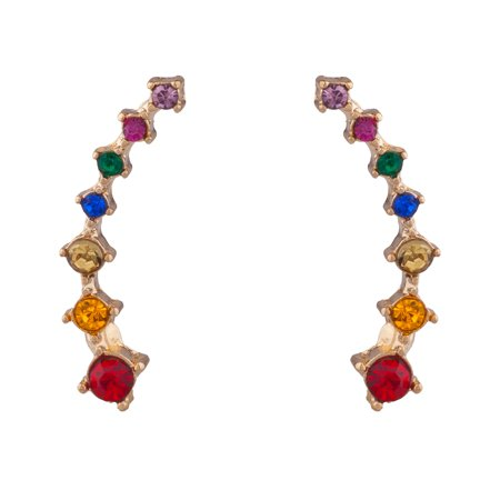Lux Accessories Gold Tone Colorful Rainbow Faux Rhinestones Stud Earrings (Golden Rhinestone Earrings)
