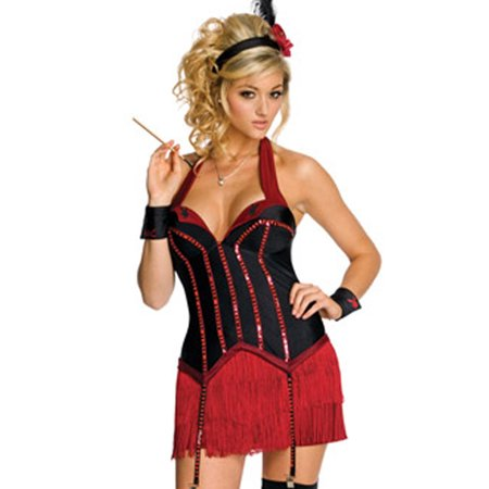 licensed playboy flapper girl red corset sexy womens halloween costume xs l