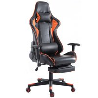 Costway High Back Racing Recliner Gaming Chair w/ Lumbar Support & Footrest