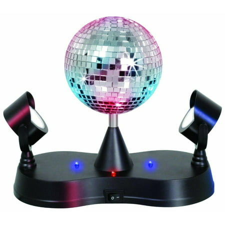 Elegantoss LED Rotating Mirror Disco Ball with 2 Projector Lamps - Party City Disco Theme