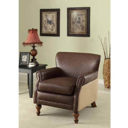 Armen Living Antique Brown Club Chair with Natural Jute and Accent Nails by Generic