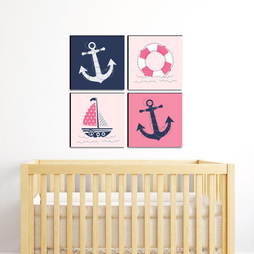 Baby Wall Art Set Print Nautical Girls Kids Room Bedroom Pink Nursery Home Decor
