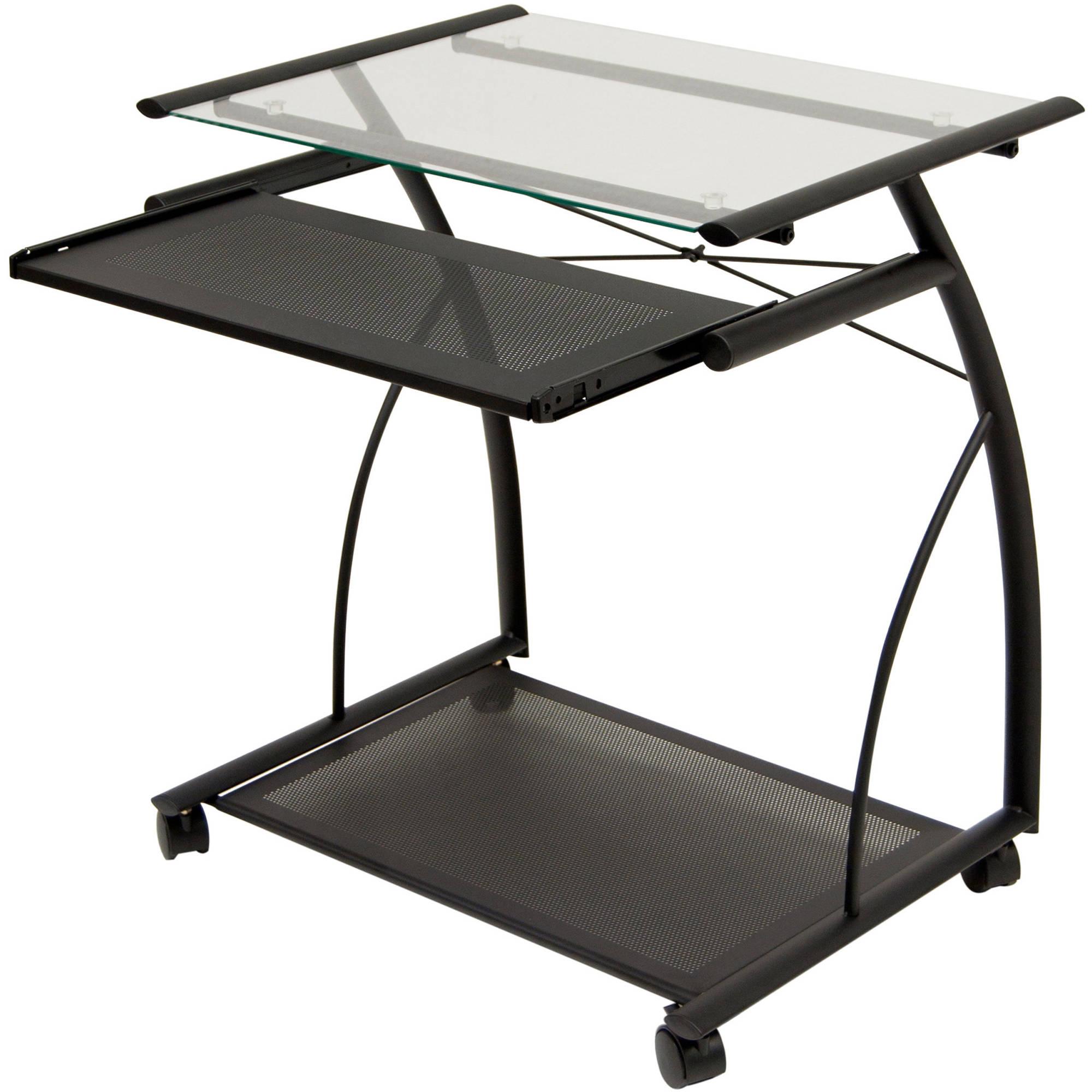 Calico Designs Monterey Desk Chrome Black Glass Walmart Com