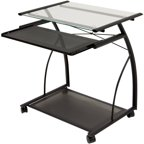 Calico Designs Monterey Desk Chrome Black Glass Walmart Com