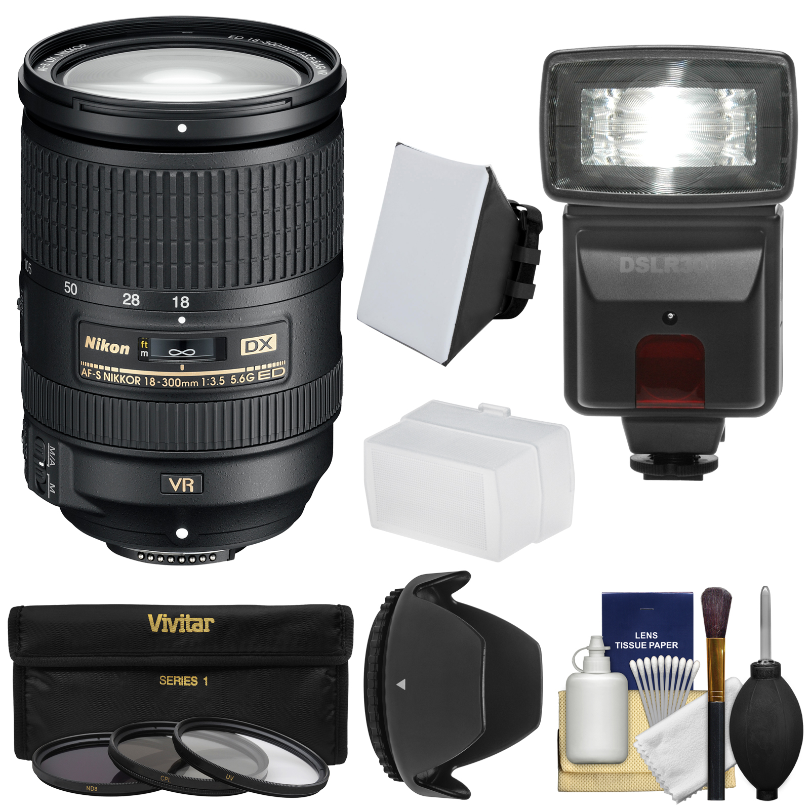 Nikon 18-300mm f/3.5-5.6G VR DX ED AF-S Nikkor-Zoom Lens with 3 Filters + Hood + Flash & 2 Diffusers + Kit for Digital SLR Cameras