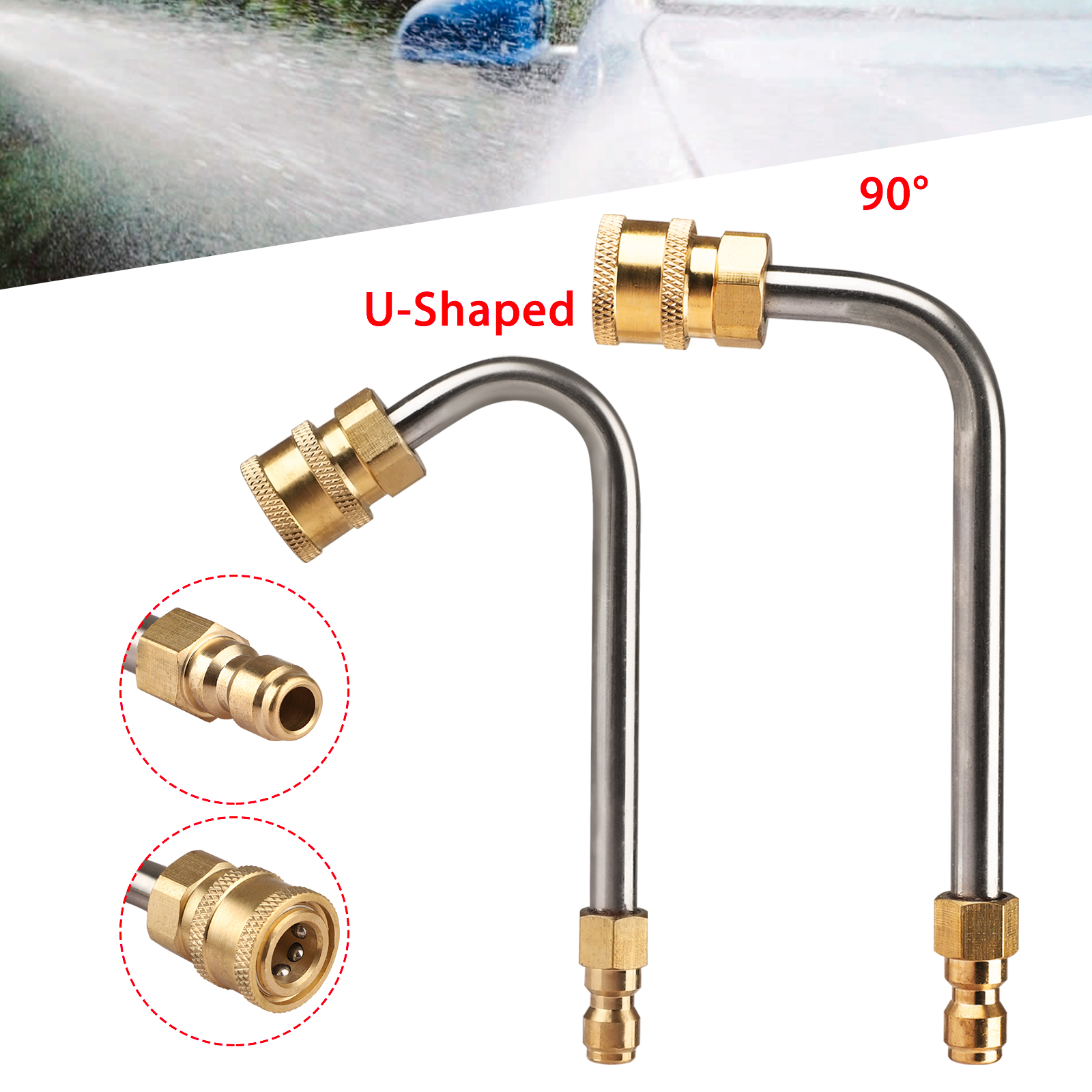 """High Pressure Elbow Washer Gutter Cleaner Lance//Wand 1//4/"""" Quick Connect"""