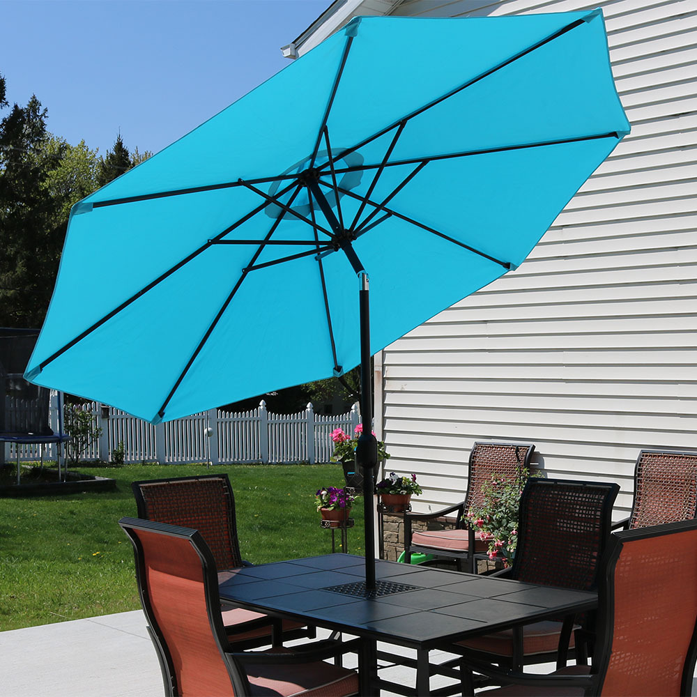 Incroyable Sunnydaze 9 Foot Aluminum Outdoor Patio Umbrella With Tilt U0026 Crank,  Turquoise