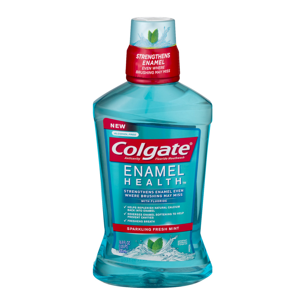 Colgate Enamel Health Fluoride Mouthwash Sparkling Fresh Mint, 16.9 FL OZ