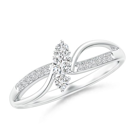 Bypass Three Stone Diamond Split Shank Ring with Prong Set in Platinum (Weight: 0.09ctwt)