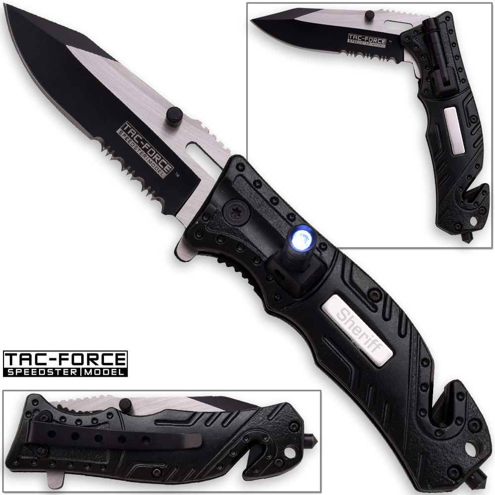 8in TAC Force Sheriff Rescue Flashlight Pocket Knife Spring Assisted Folding LEO