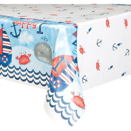 Nautical Plastic Table (Nautical First Birthday Plastic Party Tablecloth, 84 x 54in )