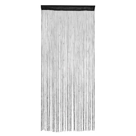 Window Door Polyester String Bead Decor Curtain Wall Tassel Black 100 x 200cm ()