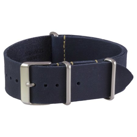 Navy Oiled Leather NATO Watchband (18, 20, 22 & 24mm) (Arcadia Navy Leather)