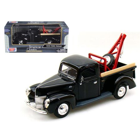 1 by 24 1940 Ford Pickup Tow Truck Diecast Car Model - Black