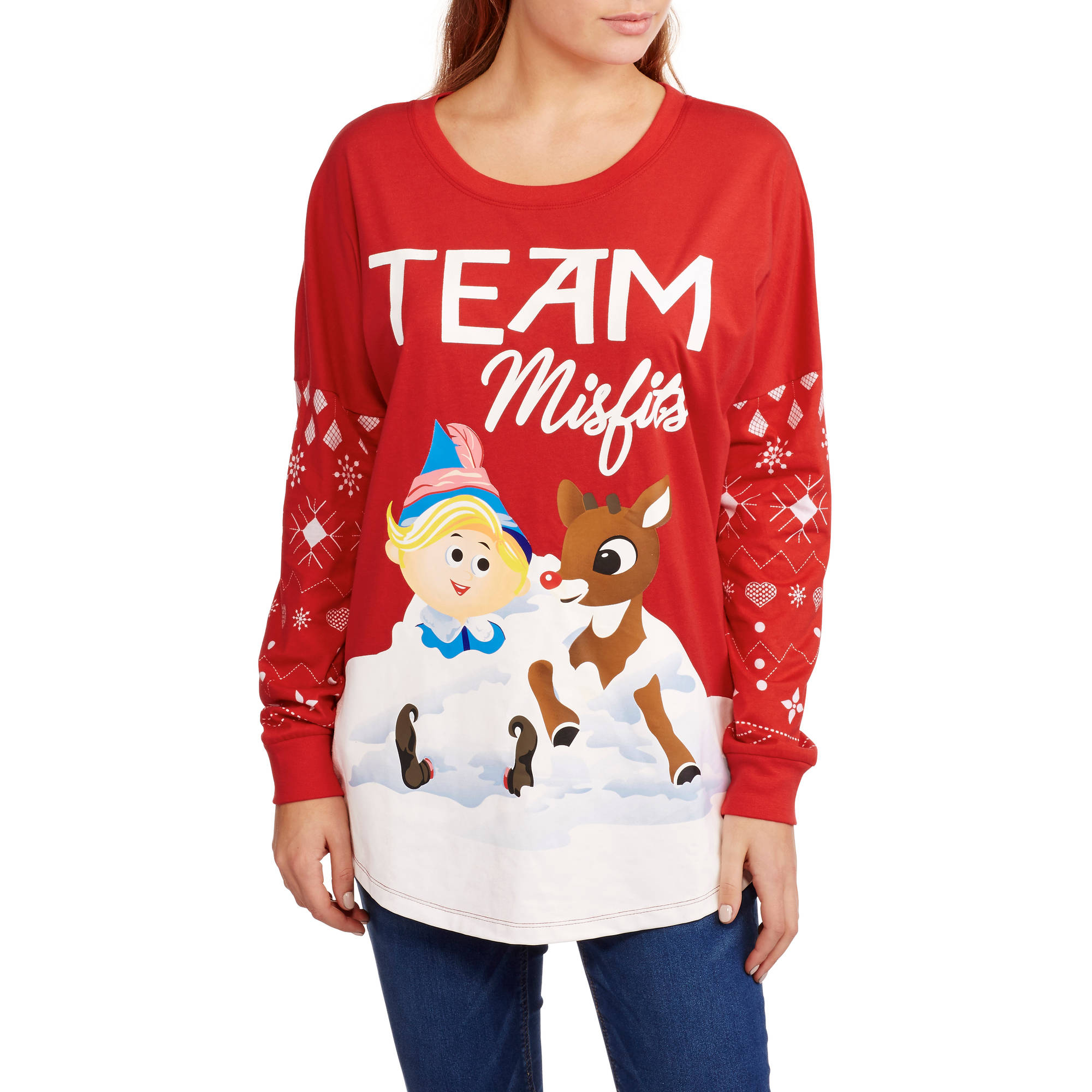 "Juniors' ""Rudolph Team Misfits"" Christmas Graphic Long Sleeve 2Fer Tee"