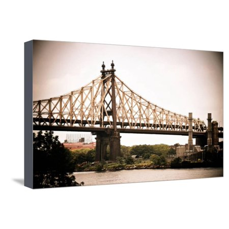 Ed Koch Queensboro Bridge (Queensbridge), Long Island City, New York, Vintage, White Frame Stretched Canvas Print Wall Art By Philippe Hugonnard for $<!---->