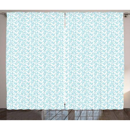 Aqua And White Curtains 2 Panels Set