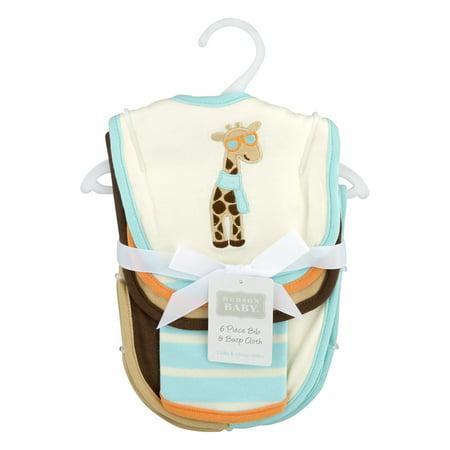 Hudson Baby Boy and Girl Bib & Burp Cloth, 6-Piece Set