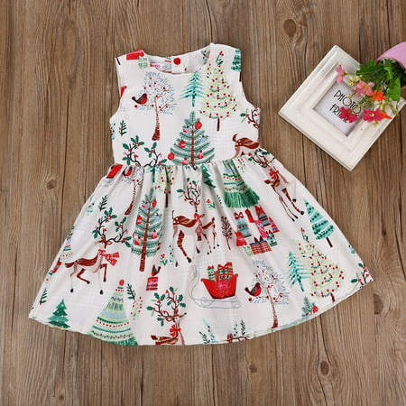 Toddler Baby Girl Fashion Christmas Cartoon Deer Sleeveless Party Princess Dress