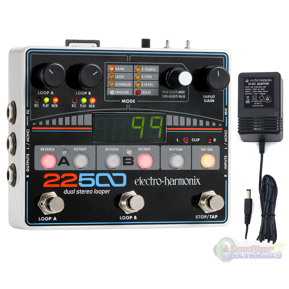 Electro-Harmonix 22500 Dual Stereo Looper Pedal w power supply by New Sensor