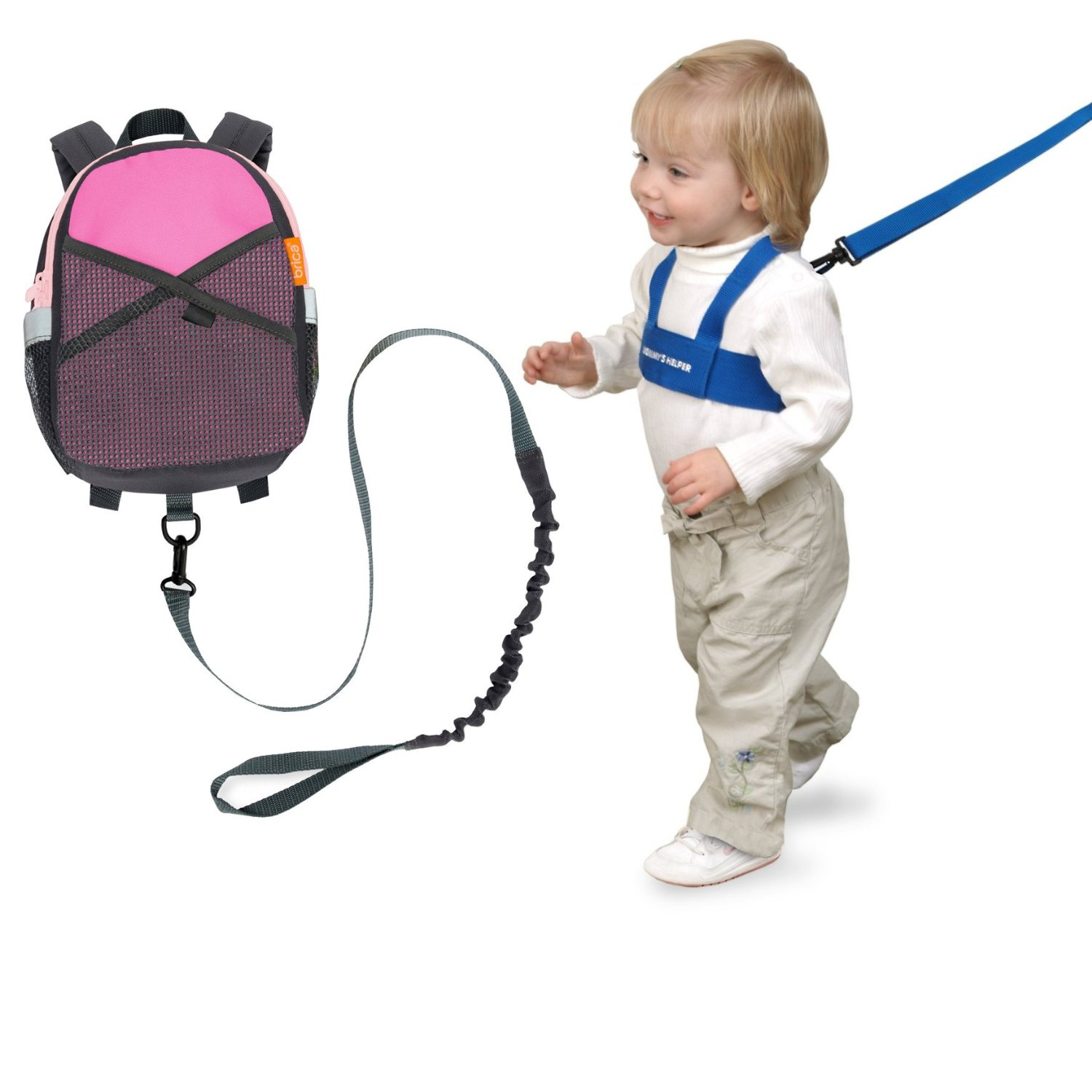 Brica By-My-Side Safety Harness Backpack, Pink with Kid Keeper by Brica