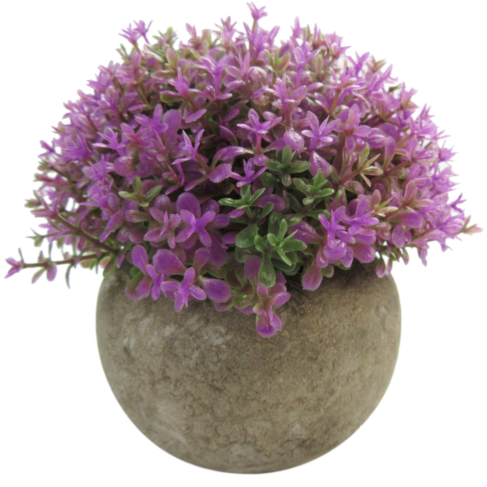 Mini 5-inch Lifelike Artificial Topiary Faux Purple Plant in pot for Home Decor