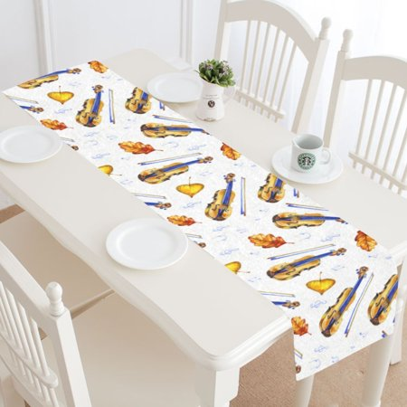 MYPOP Music Guitar Table Runner Home Decor 14x72 Inch,Bright Guitar Leaf Table Cloth Runner for Wedding Party Banquet Decoration (Guitar Table Decorations)