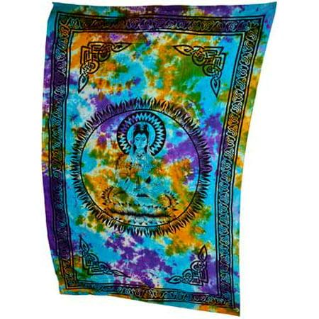 Raven Blackwood Imports Bedspread Tapestry Quan Yin Tie Dye Kwan Yin Kuan Yin Multi Colored Large 72