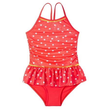 LIttle Girls' 4-6X Star Print 1 Piece Swimsuit