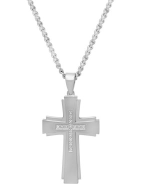 4f0b7947f22 Product Image Men s Stainless Steel Cross with 1 6cttw White Diamond Stone Pendant  Necklace Chain