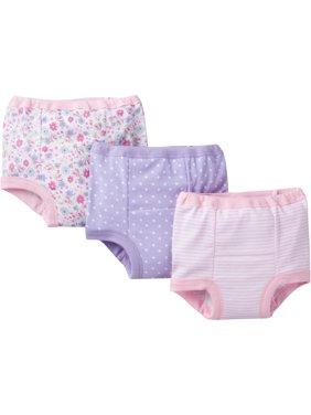 Gerber Toddler Girl Assorted Pattern Training Pants, 3-Pack