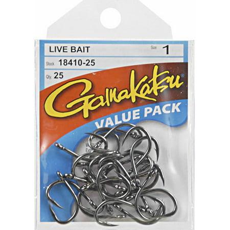 Gamakatsu Black Live Bait Hook  25 Pack