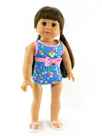 """Pink Bow Bathing Suit Fits 18"""" American Girl Dolls, Madame Alexander, Our Generation, etc. 