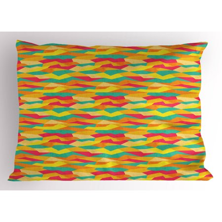 Geometric Pillow Sham Funky Formless African Prehistoric Tiles Vivid Contrast Fashion, Decorative Standard King Size Printed Pillowcase, 36 X 20 Inches, Magenta Marigold Jade Green, by Ambesonne - King Jaffe