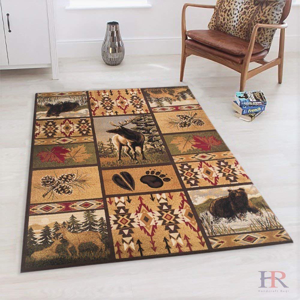 Cabin Area Rug - Modern Geometric South-western Design Cabin Area Rug - Abstract, Beige/Multicolor Design- Leafs/Nature/Bear/Deer/Foot Print