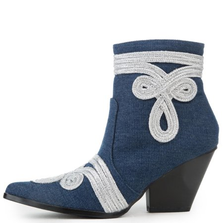 Cape Robbin Kelsey-20 Denim Blue White Trim Pointed Toe Western Ankle Bootie (9) (6) (Denim Bootie)