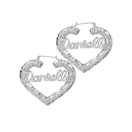 Sterling Silver or Gold Plated Personalized Bamboo Style Heart Name Earrings with Beading and Rhodium All Over The Name
