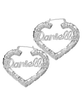 Product Image Sterling Silver Or Gold Plated Personalized Bamboo Style Heart Name Earrings With Beading And Rhodium All