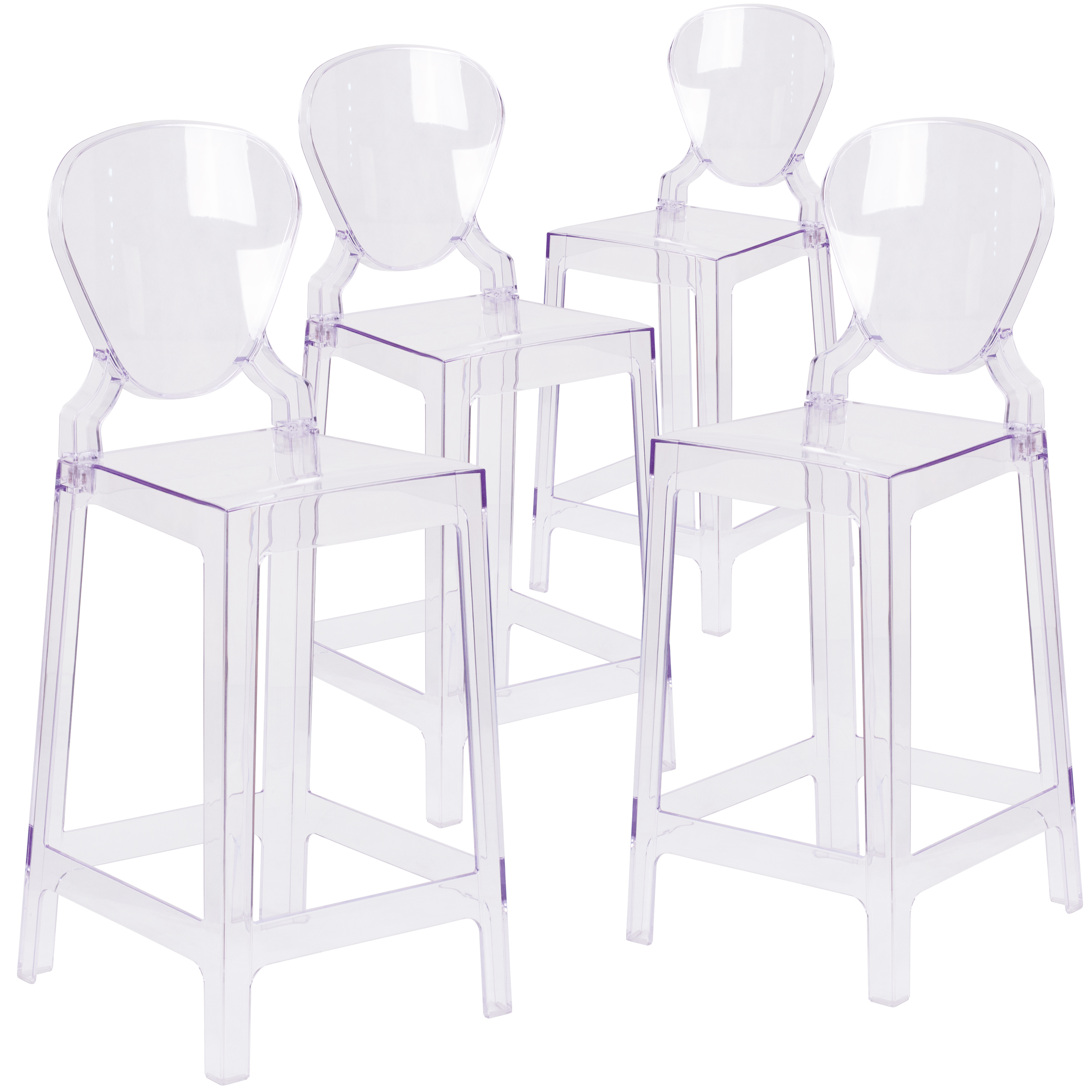 Flash Furniture 4 Pk. Ghost Counter Stool in Transparent Crystal with Tear Back